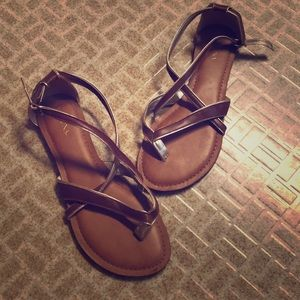 Brown & Gold Merona Sandals Size 7
